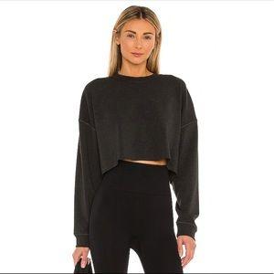 WeWoreWhat Black Long Sleeve Cropped Sweatshirt